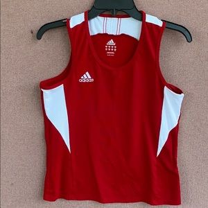 Adidas red and white tank top Embroidered logo